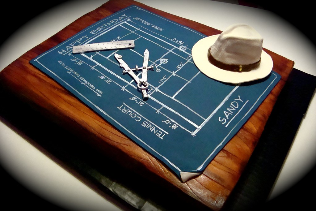 blueprint cake  made for an architect who plays tennis