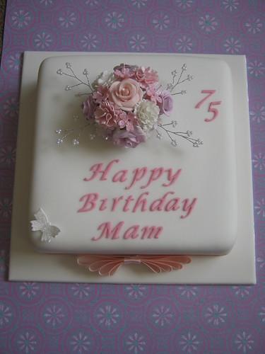 75th Birthday Cake Birthday Cake With Sugar Flower Posy