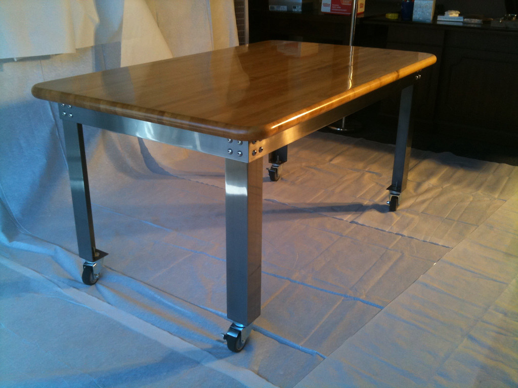 industrial kitchen table modern tile using angle iron and an