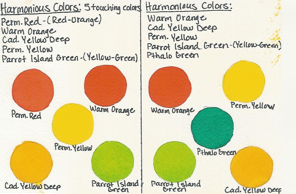 Harmonious Color Chart  Harmonious Colors are any 5