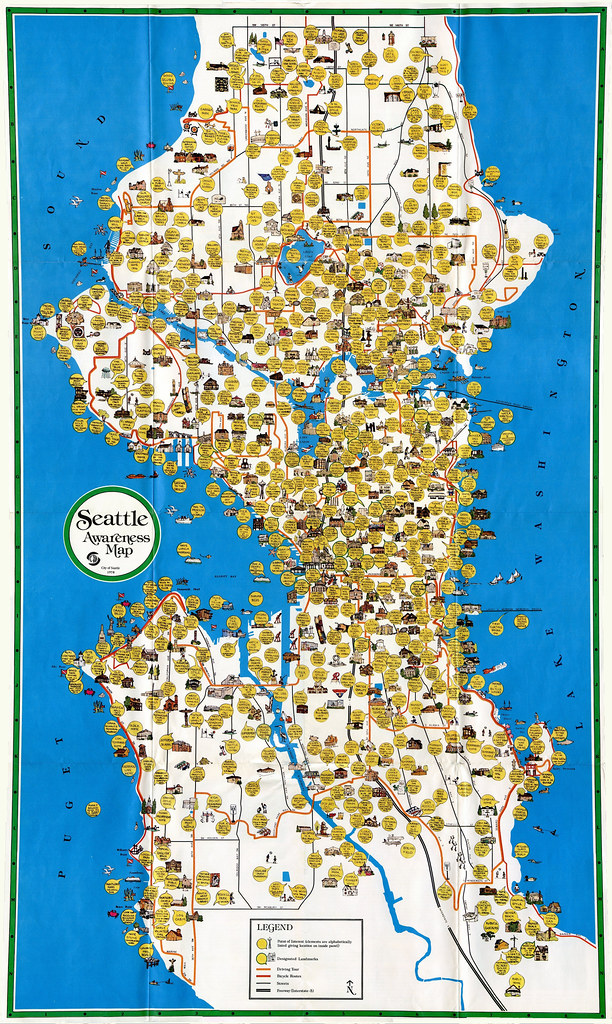 Seattle Awareness Map 1978  A cultural map of Seattle