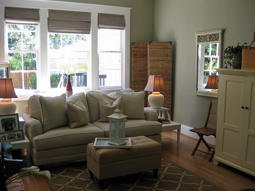 sage green family room  a farmhousestyle living room