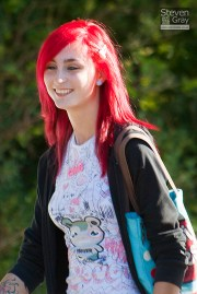 people - cute girl with dyed red