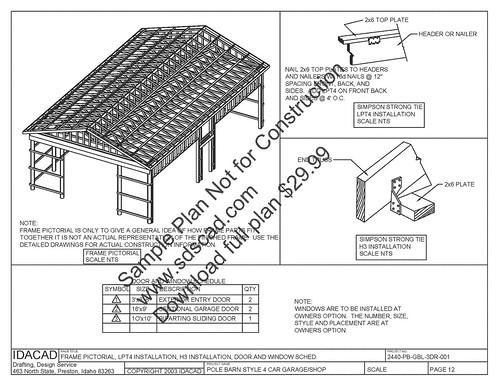 http://www.PDFgarages.com pole barn plans, compete constru
