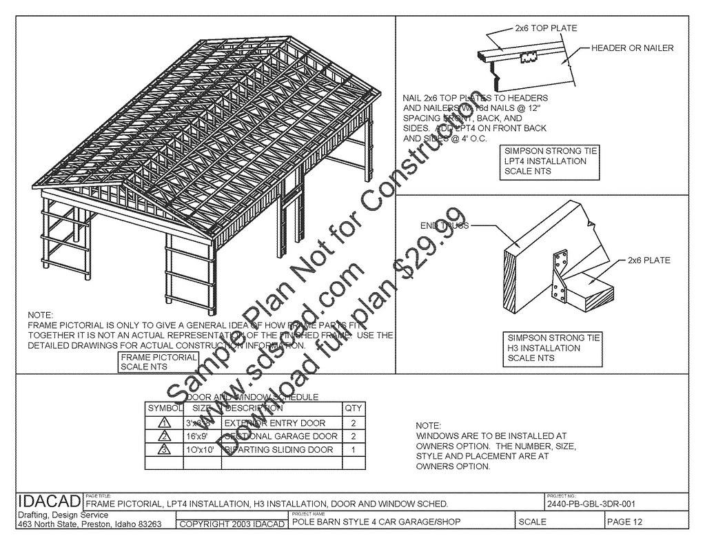 Garages Pole Barn Plans Compete Constru