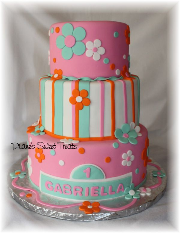Gabriella S 1st Birthday Cake What A Fun Cake To Work On
