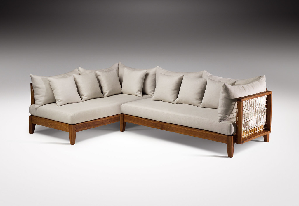 contemporary leather sofa teal fabric riempie l shape couch, designed by haldane martin, photo j ...