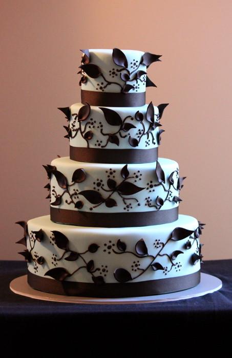 Tiffany Blue Amp Brown Wedding Cake Chrissy And Matthew