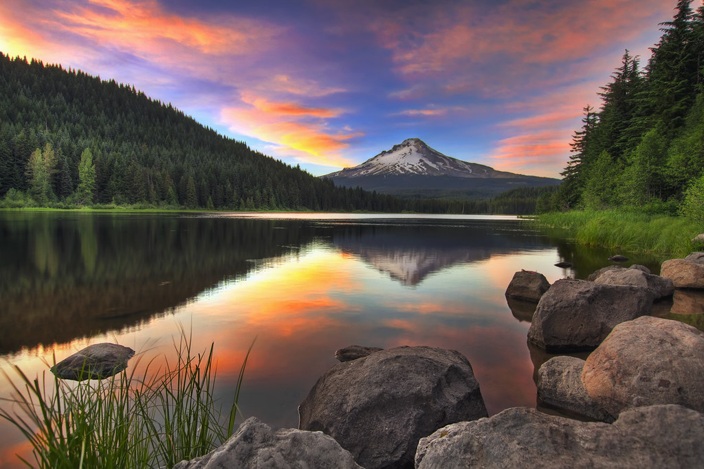 Serene Wallpapers Large Fall Sunset At Trillium Lake With Mount Hood Hdr Please