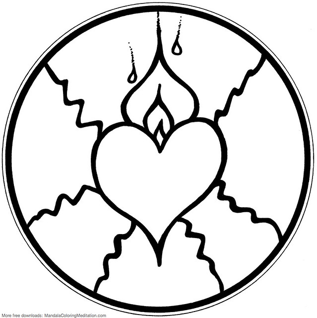 Printable children coloring page: fire heart mandala