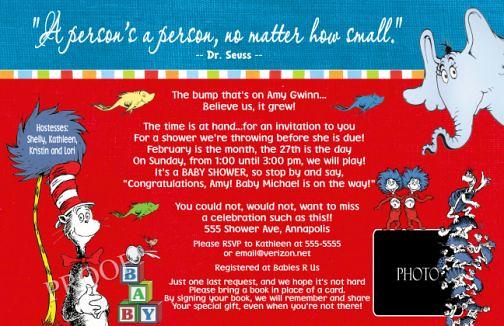 Unique Dr Seuss Baby Shower Invitation Primary Colors Brig  Flickr