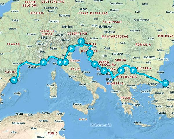Mapa del recorrido por Europa que hicimos desde Barcelona a Estambul en 21 días