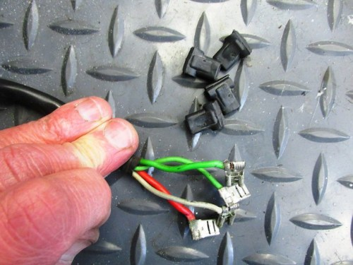 Rubber Boots Removed From Ignition Switch Wiring Terminals