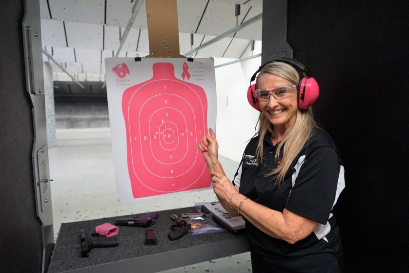 Shirley King of Female Firearms Training, Points to My Target at Shooters Paradise Gun Range in Charlotte, Fla., Apil 29, 2017