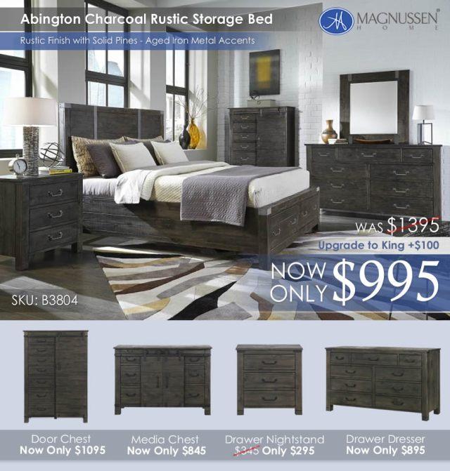 Abington Charcoal Rustic Storage Bed B3804