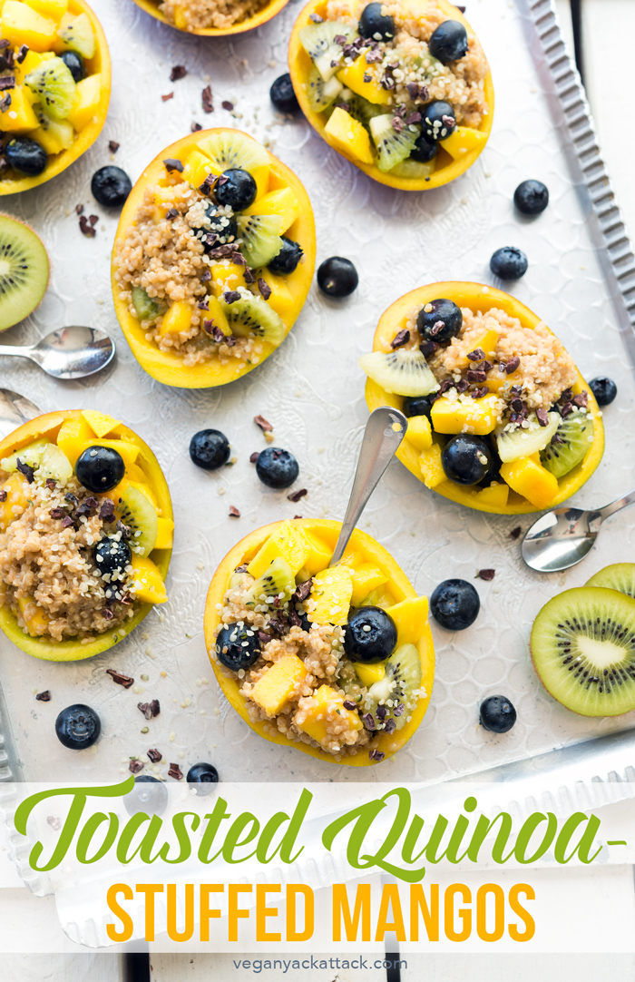 These Toasted Quinoa-Stuffed Mangos are filled with fresh fruit, lots of protein, and wonderful flavors from cacao nibs and creamy quinoa! #Vegan #Glutenfree #HeartYourself #Soyfree