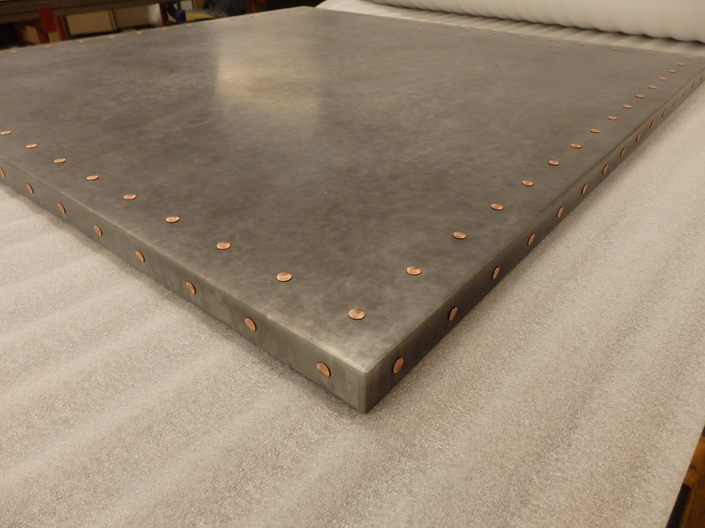 185  Light Patina Zinc Table Top with Copper Rivets  Flickr