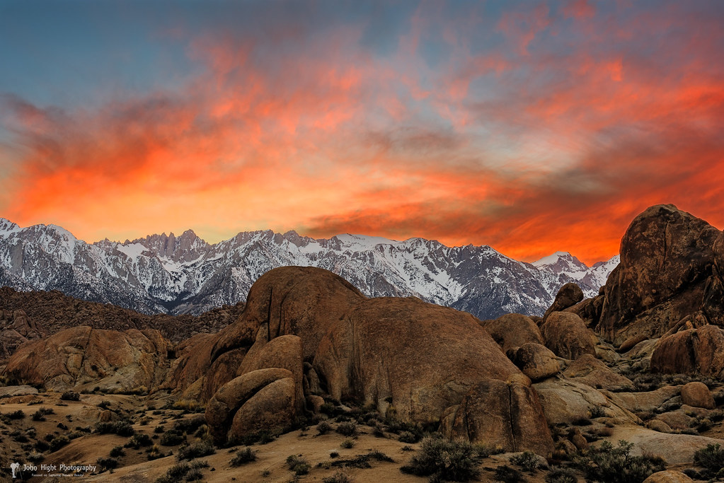 Red Sky at Alabama Hills Lone PIne CA  The old saying
