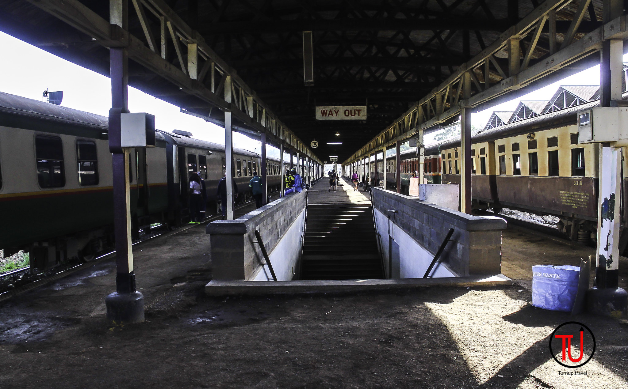 Down the stairs and onto Platform 3 to board the last of the Lunatic Express.