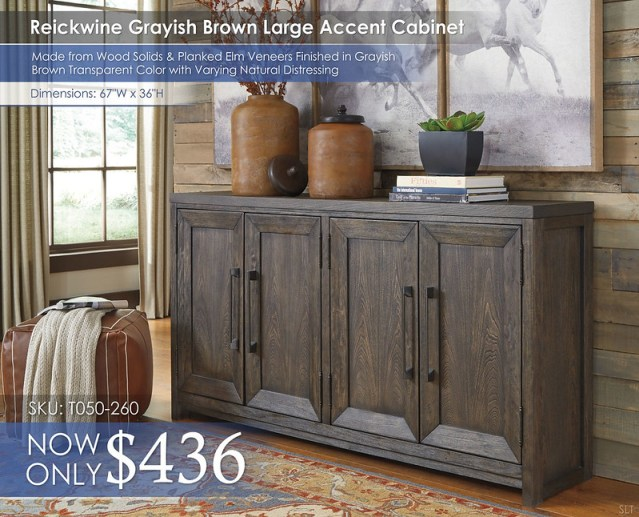 Reickwine Grayish Brown Large Accent Cabinet T050-260