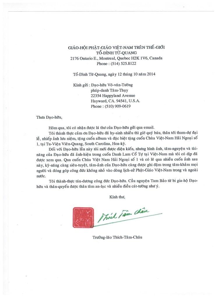 Loi gioi thieu cua HT Thich Tam Chau, Canada