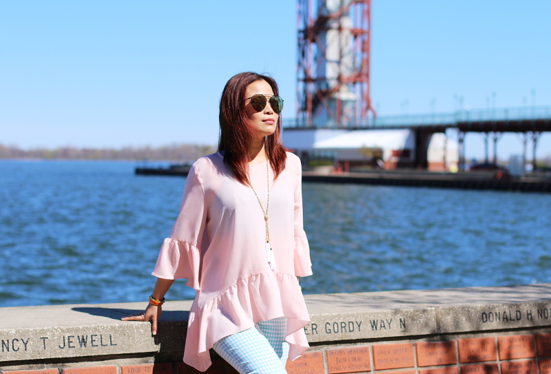 pink-blush-ruffle-top-check-pants-quay-sunglasses-7