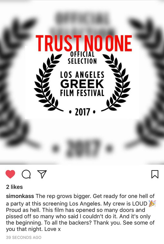 Trust No One will be screened at the Los Angeles Greek Film Festival!