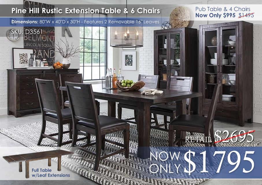 Pine Hill Rectangular Dining Set D3561