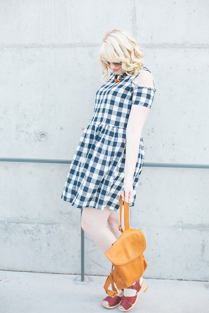 austin fashion blogger writes like a girl asos cold shoulder gingham dress5