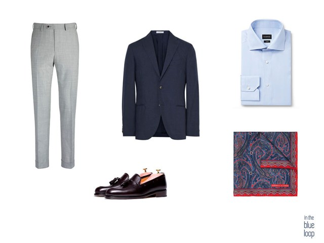 Combinación de look masculino con blazer para hombre, pantalón de vestir, zapatos, pañuelo de bolsillo y camisa azul