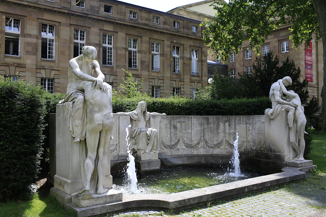 Stuttgart city center opera house fountain