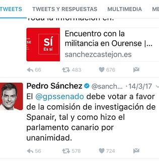 Tweet de Pedro Sánchez comprometiéndose favorablemente con la aprobación de la PNL para la creación de una Comisión de Investigación sobre el JK5022 y la creación de un Organo Intermodal que sustituya a la peligrosamente ineficiente CIAIAC
