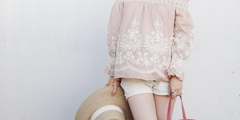 ▌Dressing the bump ▌ 偽度假風:English Factory繡花上衣 + Mansur Gavirel mini suede Lady bag