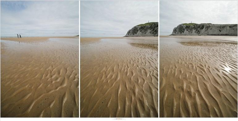 Drie foto's bestemd voor een panorama (uit de hand gefotografeerd). Let op de perspectief vertekening van de (bijna verticale) rots en de mensen die in werkelijkheid gewoon rechtop liepen.