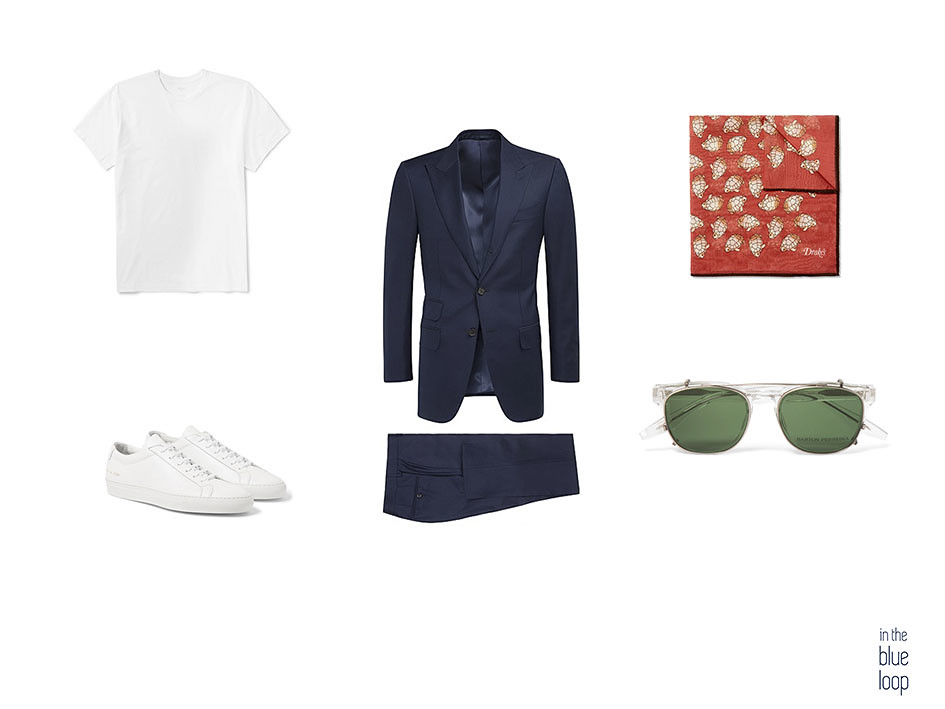 Traje hombre con un look masculino con camiseta blanca, pañuelo de bolsillo, gafas de sol para hombre y sneakers blancas