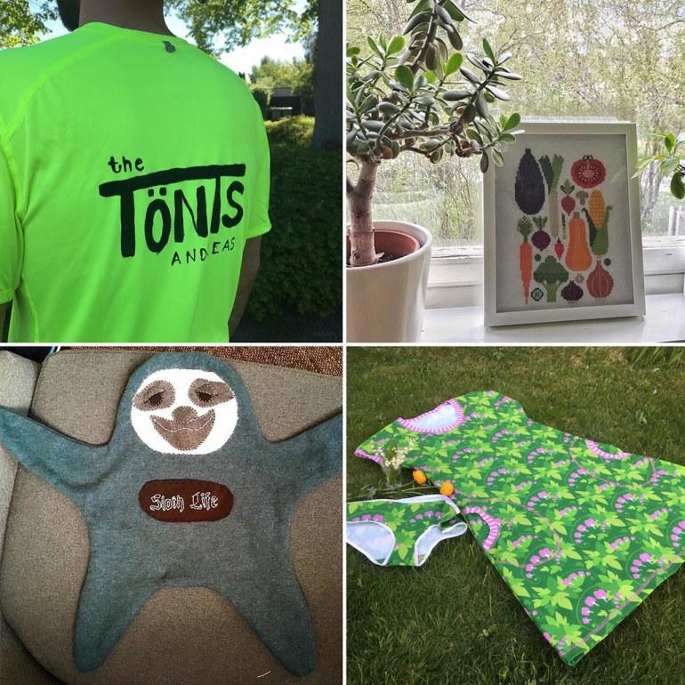 Monthly Makers tyg textiltryck grönsaksbroderi snutte klänning
