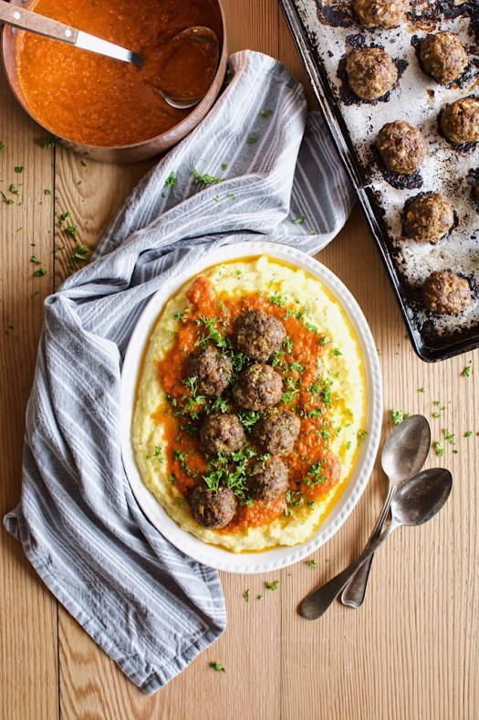 meatballs with polenta and marinara