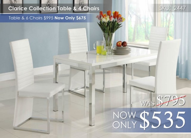 Clarice Collection Dining Table & 4 Chairs 2447