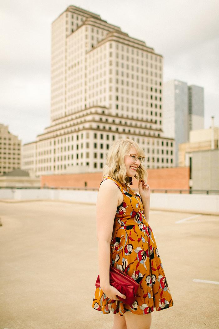 austin style blogger writes like a girl floral mustard dress7
