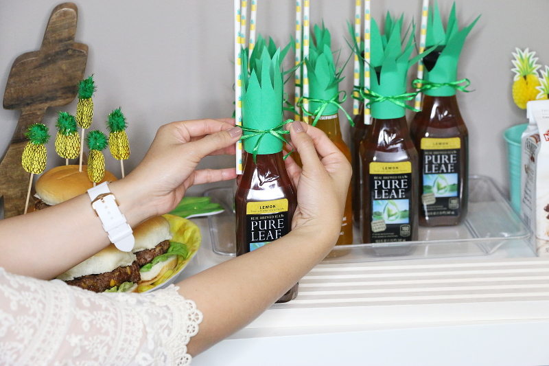 pineapple-leaves-tea-bottle-party-decor-7