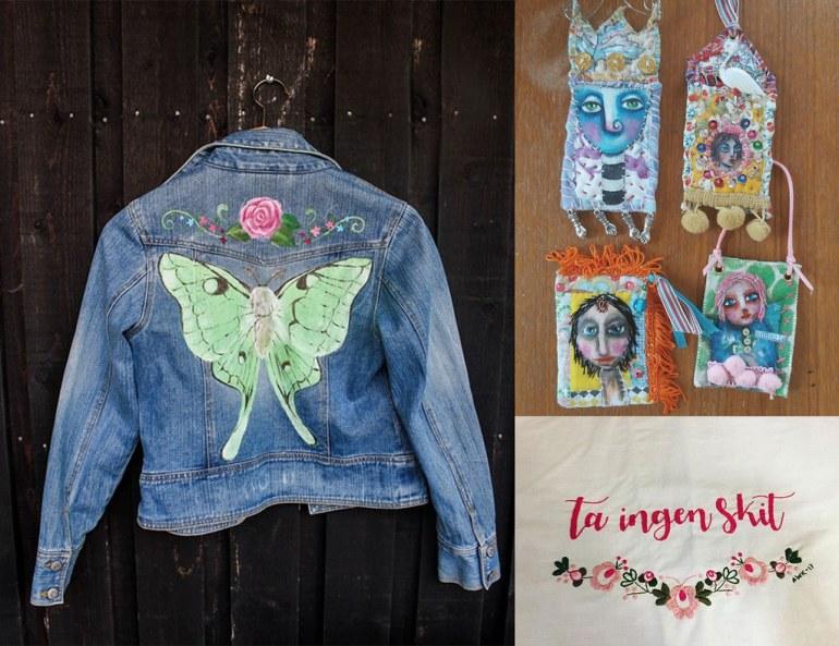 Monthly Makers tyg - målad jeansjacka ATC-kort ta-ingen-skit-broderi