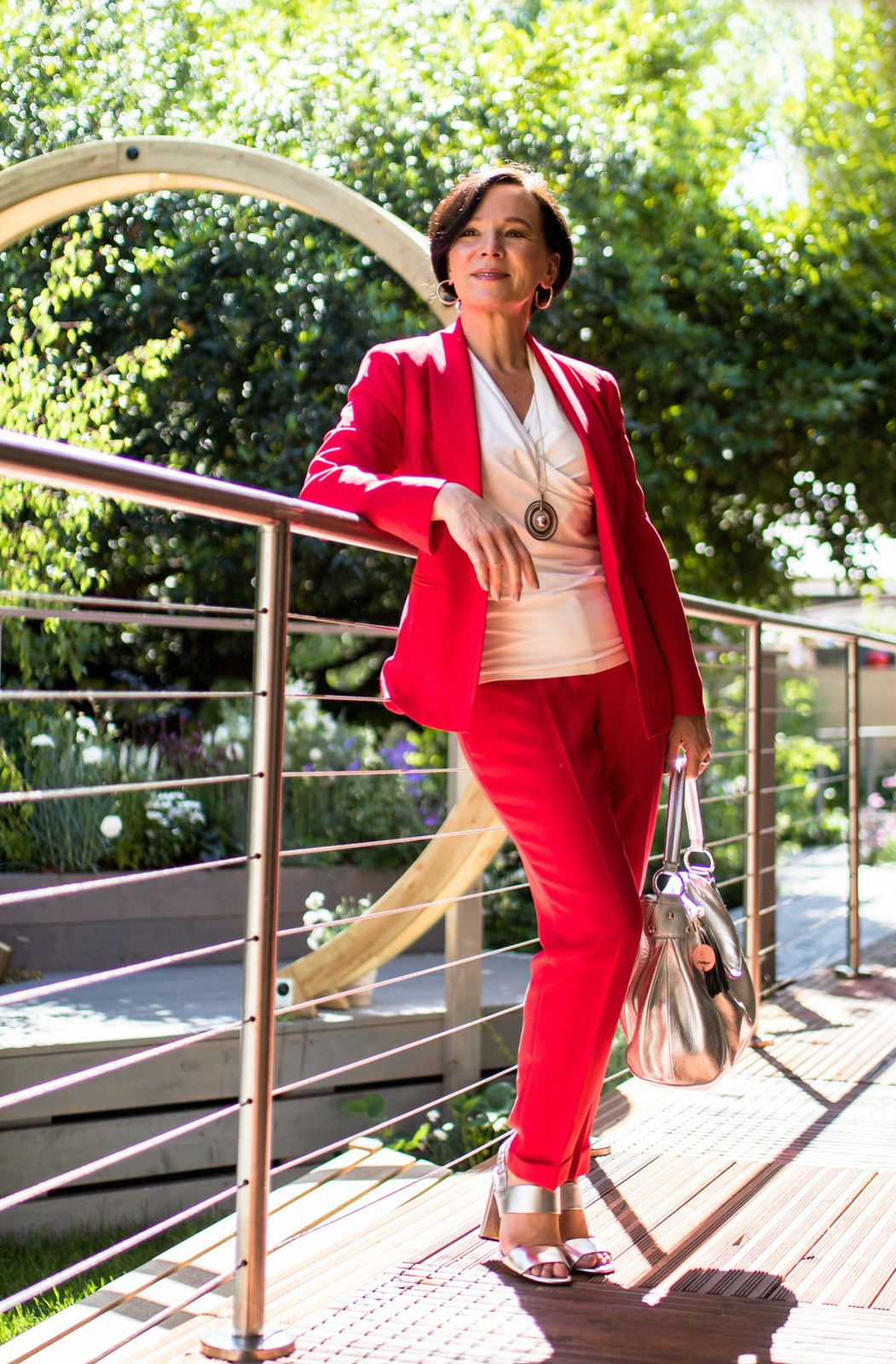RHS Chelsea Flower Show London Madeleine Fashion Red Trouser Suit LadyofStyle 3