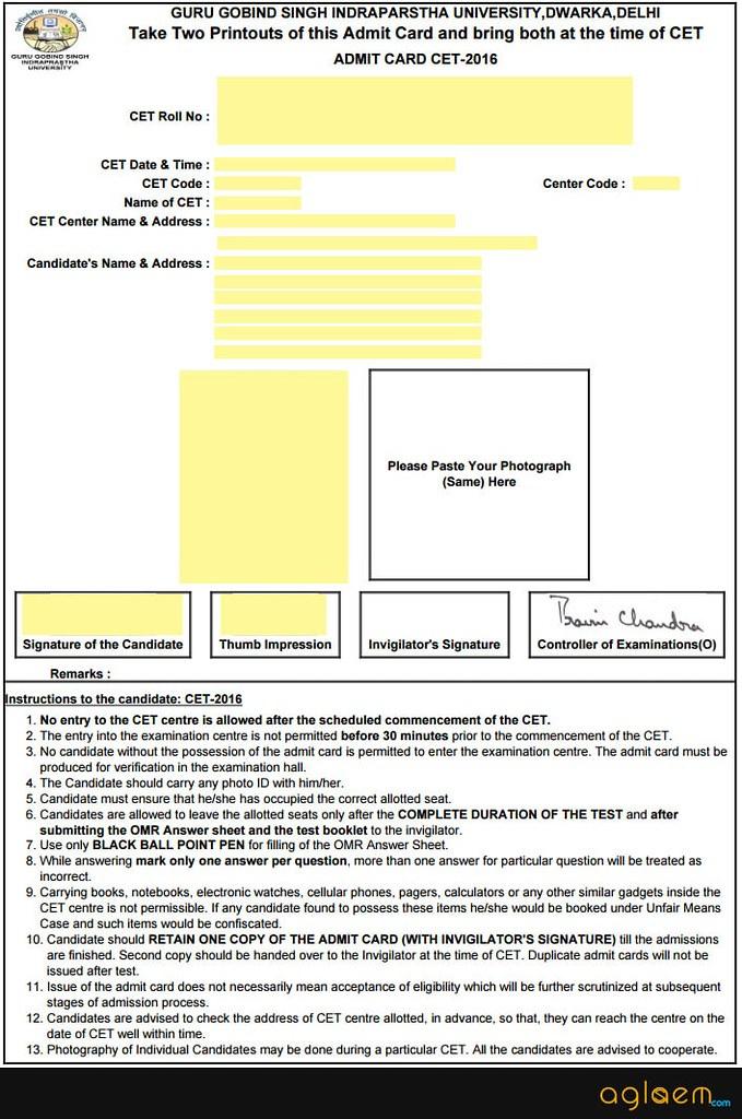 IPU CET 2019 Admit Card