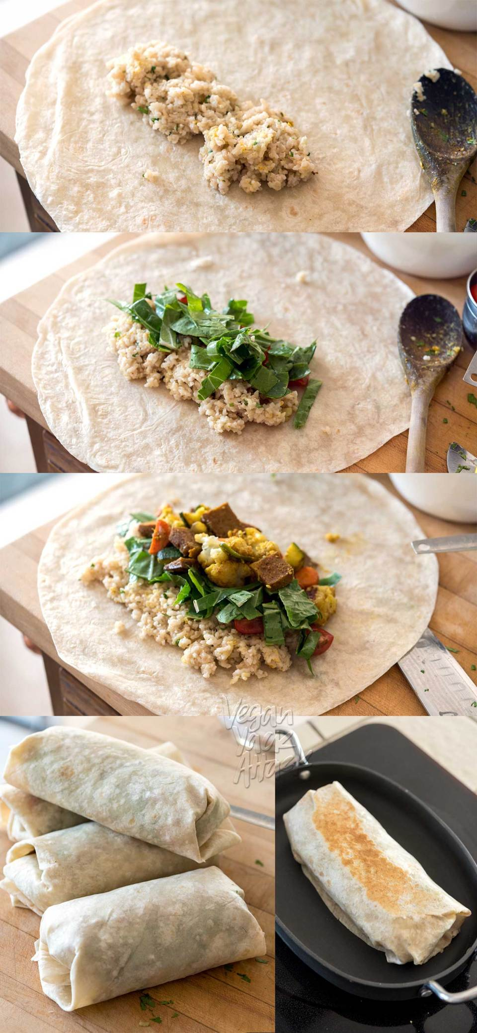 This Curry Cauliflower Burrito is easy-to-make, filled with awesome flavors, and can even be frozen for weekly lunches! Made with delicious Sweet Earth Foods' Curry Satay. Mmm.. #vegan #nutfree #veganyackattack