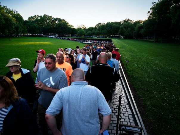 Crowds at the Vietnam Veterans Memorial
