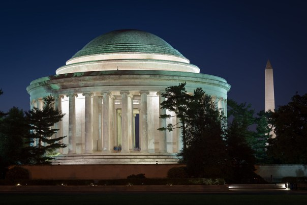 Thomas Jefferson Memorial at dusk