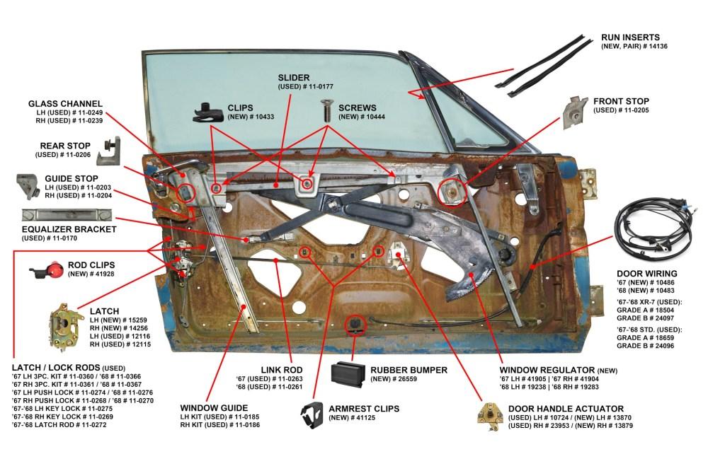 medium resolution of 1967 68 cougar door parts diagram