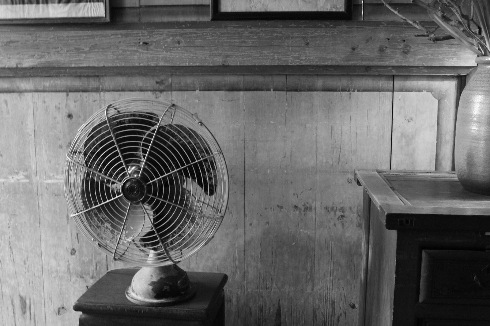 Viejo ventilador en una tetería de Jiufen