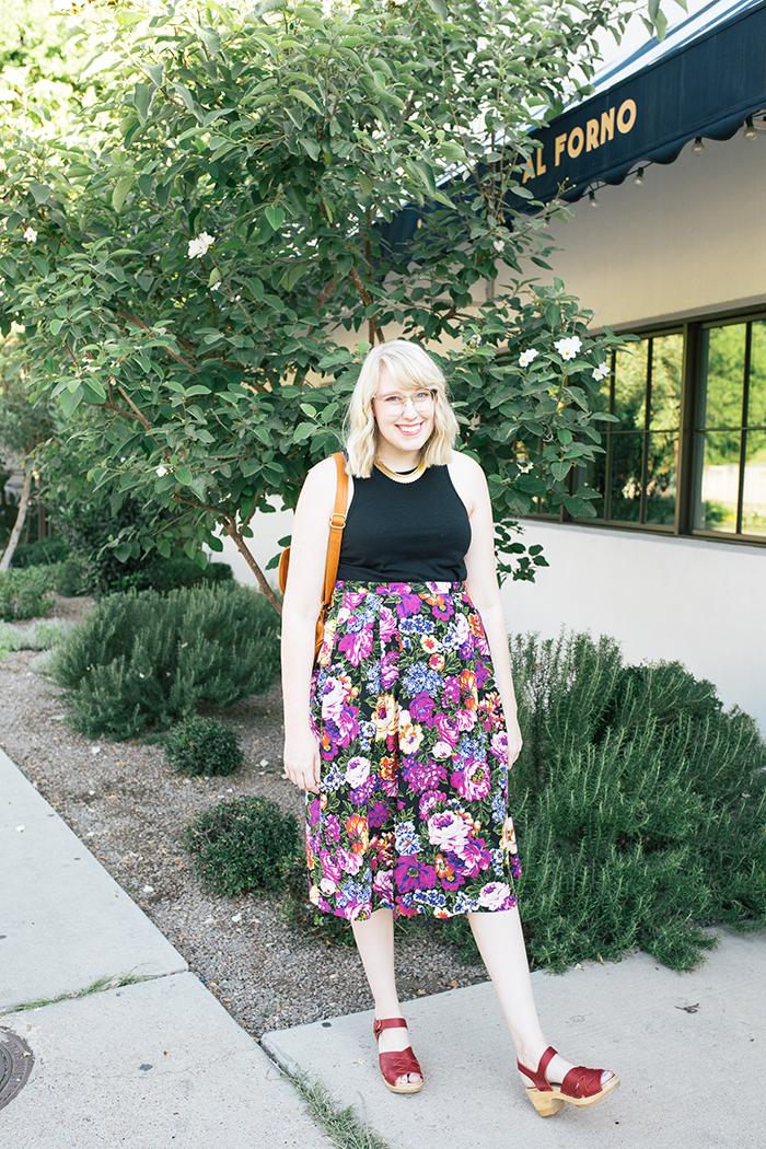 austin style blogger vintage floral midi skirt4