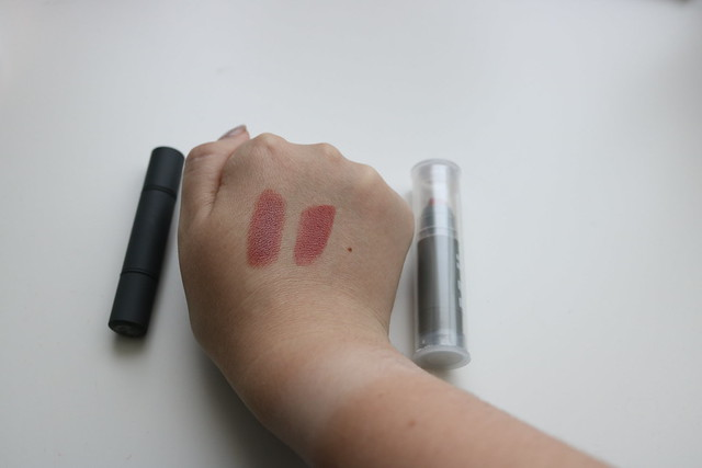 Swatches of BITE lipstick next to the Milk lipstick